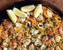 """Seafood pastaThis recipe, called fideuada del señorito (""""of the young gentleman""""), is less messy to eat because the seafood is peeled or out of its shell."""