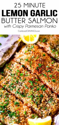 Baked Salmon with Lemon Garlic Butter - 25 MINUTE Baked Lemon Garlic Butter Salmon with Crispy Parmesan Panko & Broccoli! This salmon is - Panko Salmon Recipe, Baked Salmon Lemon, Parmesan Salmon, Oven Baked Salmon, Butter Salmon, Baked Salmon Recipes, Parmesan Broccoli, Crusted Salmon, Gourmet