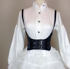 Europe fashion brand black decorative belts metal shoulders women ultra wide elastic punk waist belts accessories