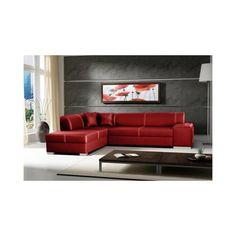 CANAPÉ - SOFA - DIVAN JUSThome TOSCANIA II Canapé d'angle en cuir écologique Rouge L x P 270 / 210 cm
