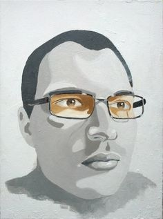 Acrylic painting on canvas, selfportrait