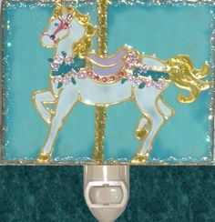 Aqua Carousel Horse Night Light. Stained glass nightlight hand painted on textured art glass for carousel gifts and theme decor. Decorative creative artwork made by Pat Desmarais in the USA. $25.00