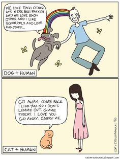 Dogs are too easy. Cats are complicated. Yasmine Surovec's webcomic Cat Versus Human