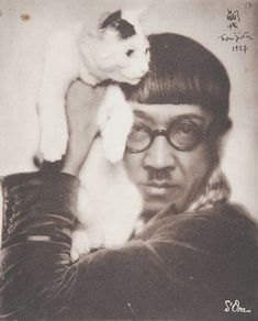 Artist Foujita with cat | photo by Dora Kalmus