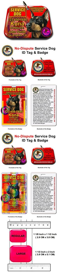 Tags and Charms 177790: Service Dog Pet Photo Id Tag Custom Badge-Tag Red Ada Personalized Ada Tag -> BUY IT NOW ONLY: $34.95 on eBay!