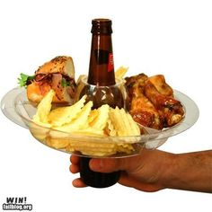 What a great idea, who wouldn't want several of these...appetizer plate fits onto beer bottle