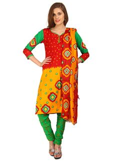 Red & Yellow Extra Vagant Cotton  Based Churidar Suit $24.06
