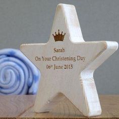 Personalised Children's Christening Star With Crown - Give a Christening gift that shows they are truly cherished. Thoughtful and original, lots of the products can be personalised as they are created by talented independent designers or small creative businesses.