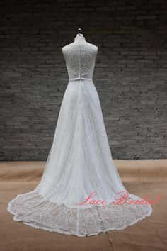Simple A-line Wedding Gown, New-style Lace Bridal Gown, Wedding Gowns with Sash by LaceBridal on Etsy