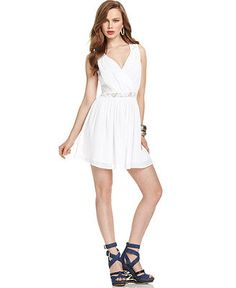 GUESS Dress, Sleeveless V-Neck Lace A-Line - Dresses - Women - Macy's
