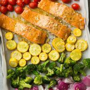 Sheet Pan Honey Mustard Salmon with Rainbow Veggies - Cooking Classy Salmon In Foil Recipes, Fish Recipes, Seafood Recipes, Cooking Recipes, Healthy Recipes, Pasta Recipes, Recipies, Parmesan Crusted Salmon, Parmesan Asparagus