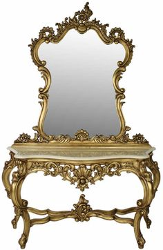 French Gold Leaf Carved Console Table with Mirror