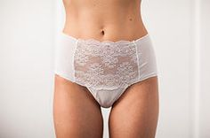 Meg Thong-High waisted silk panty with french lace and Swarovski crystals #bridallingerie #wedding #luxury