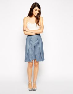 ASOS+Jacquard+Skirt+With+Fold+Front