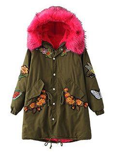 Abrigo - Parka con Capucha   Borde de piel sintética forro de lana manga larga con bordados.  Parka es el diseño más moda en este invierno, con bordado de flores.  Talla Unica