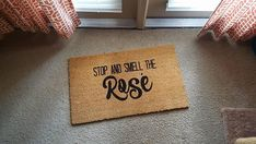 Hand-painted straw doormats. Font color is only black. Font style(s) are as pictured. Due to the process that we use to design our mats, products will vary in way of actual font size and placement. All of our mats are hand-painted- this causes each mat to be slightly different.  Please allow 5 to 7 days for your order to process before it is shipped. These mats are made of coir and measure 18 by 30. Like all doormats, they will fade over time from normal wear and tear. If the mat is exposed…