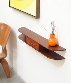 Danish Modern Floating Entry Wall Shelf Table Mid Century Eames Era
