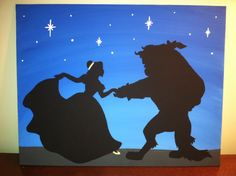 Beauty and the Beast Silhouette on Canvas Panel by PotterPillows, $18.00