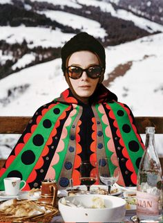 Photographer Bobby Doherty inserted items from the season's runways into stills from iconic movies, from Belle du Jour to American Hustle. Audrey Hepburn in Charade, Cape by Valentino, Image Fashion, Ski Fashion, Moda Fashion, 1960s Fashion, Autumn Fashion, Fashion Clothes, Moda Vintage, Vintage Ski, Looks Vintage