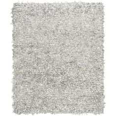 Safavieh Hand-Knotted Leather Shag Grey/ White Leather Rug (8' x 10') (LSG601C-8)
