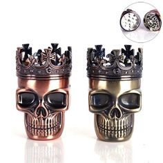 #NewYear #BangGood - #Alloy Loskii NB-CR010 Skull Four Piece Tobacco Herb Grinder Metal Spice Crusher Alloy Pollen Catcher - AdoreWe.com