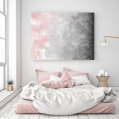 Blush Gray Painting, Digital Print, Scandinavian Decor, Ombre Art, Grey Watercolor Print, Abstract Art, Modern Print, 22x28 in, Print Avenue
