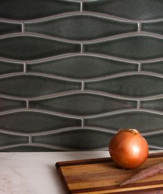 sustainable tiles - Debris Series Recycled Ceramic Tile Wave pattern by Fireclay Tile via Atticmag Buying A Condo, Fireclay Tile, Fire Clay, Black Tiles, Luminous Colours, Cottage Kitchens, Style Tile, Wave Pattern, Color Inspiration