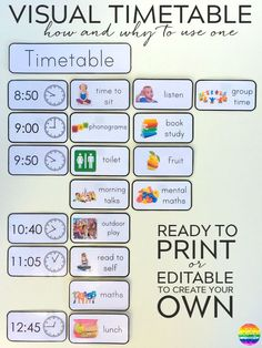 Printable Editable Visual Timetable Cards - one of the most effective tools in any early years classroom. Ready to print timetable cards or editable to add your own font/text Visual Timetable, Visual Schedules, Visual Schedule Autism, Classroom Organisation, Classroom Management, Home Learning, Learning Activities, Mobile Learning, Learning Quotes
