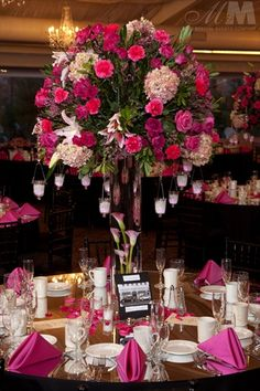 Floral Design by M&M Event Rentals www.mmspecialevents.com Dallas & Chicago wedding, centerpiece, pink, magenta, hot pink, blush, tall, floral, flowers, reception