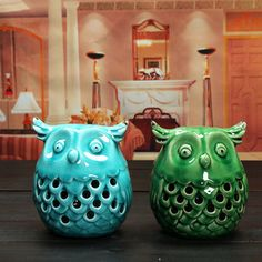 Creative Ceramic Owl Night Light Handicrafts  Living Room Ornaments Home Office Decor