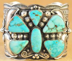 Navajo Sterling Silver Turquoise Mountain Butterfly Cuff Bracelet by Andy Cadman | eBay
