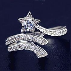 CZ Inlaid 925 Sterling Silver Star Ring - USD $39.95