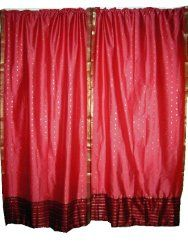 2 India Curtains Rosepink Polysilk Sari Saree Curtains Drapes Panels Window Dressing | Mogul Interior