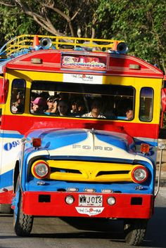 Chiva: typical local bus in Colombia. Colombian Culture, Colombian Art, Trip To Colombia, Visit Colombia, World Of Color, Color Of Life, Lonely Planet, Ecuador, Haiti