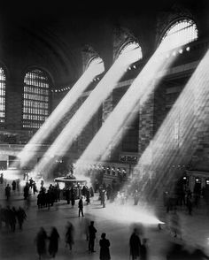 grand central station 1947. the light does not shine through like this anymore because the buildings around the station have been built too tall.