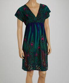 Blue & Teal Peacock V-Neck Dress - Women by jon & anna #zulily #zulilyfinds