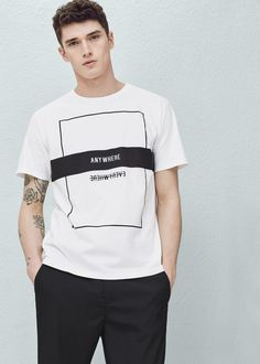 Text cotton t-shirt | MANGO MAN