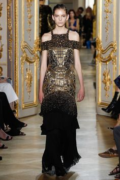 J. Mendel | Fall 2016 Couture | 36 Black/gold sequined cut-out shoulder maxi dress