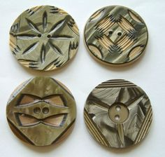 4 Vintage LARGE Art Deco Carved & Layered Celluloid Wafer Buttons, Neutrals