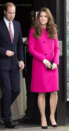Kate, who is one of the world's most emulated style icons, kept it simple in a chic cerise jacket
