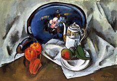 "Kuprin Alexander ""Still life with a blue tray"" 1914 Be Still, Still Life, Russian Avant Garde, Life Page, Marc Chagall, Classic Paintings, Russian Art, Drawings, Moscow"