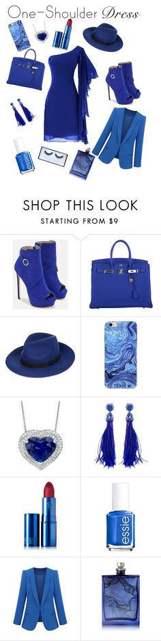 """""""Blue one shoulder style"""" by kaykay42005 ❤ liked on Polyvore featuring JustFab, Hermès, Maje, Oscar de la Renta, Lipstick Queen, Essie, The Beautiful Mind Series and Huda Beauty"""