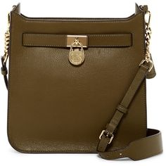 MICHAEL Michael Kors Hamilton Leather Messenger Bag ($125) ❤ liked on Polyvore featuring bags, messenger bags, olive, leather messenger bag, brown bag, zipper messenger bag, leather zipper bag and courier bag