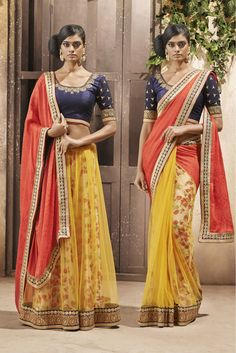 Yellow and Peach Colour Net Fabric Designer Saree Comes with matching Blouse. This Saree Is Crafted With Embroidery,Lace Work,Flower Printed. This Saree Comes With Unstitched Blouse Which Can Be Stitc...