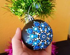 Mandala Christmas Ball ornaments#Snowball 1#unique#makes special your Christmas Tree#one of a kind#Shipping included until December 15#