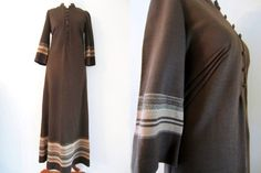 Brown Maxi Dress w/ Gold Shimmering Folk Stripes and Sleeves by Oravais Finn Jersey, S-M // Vintage Hippie Day Dress Brown Maxi Dresses, Day Dresses, Vintage Hippie, Bombshells, Finland, Im Not Perfect, Duster Coat, Pin Up, Folk
