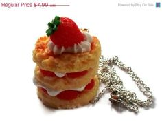 Pancake Necklace Stack Strawberry by KitschBitchJewellery on Etsy, $6 ...