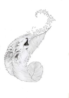 wolf Tatto comission by on DeviantArt - I like the curvature of this feather and LOVE the birds flying off in a swirl. Music Tattoos, Body Art Tattoos, Sleeve Tattoos, Tatoos, Bird Tattoos, Wrist Tattoos, Tatoo Brothers, Tatoo Bird, Birds Flying Tattoo