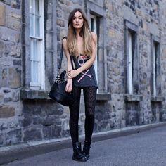 Wildfox Couture Tank Top, Storets Bag, Black Milk Clothing Leggings, Dr. Martens Boots