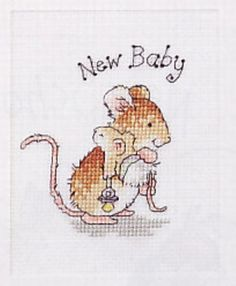 Grille point de croix SOURIS ET SON BEBE - Carte Naissance : Broderie par ladycat Baby Cross Stitch Patterns, Cross Stitch For Kids, Simple Cross Stitch, Cross Stitch Baby, Cross Stitch Animals, Cross Stitch Designs, Cross Stitching, Cross Stitch Embroidery, Heart For Kids